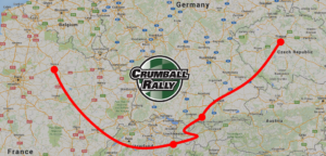 A map of Europe showing a point to point overlay of the rough Crumball Rally Mission Impossible route.