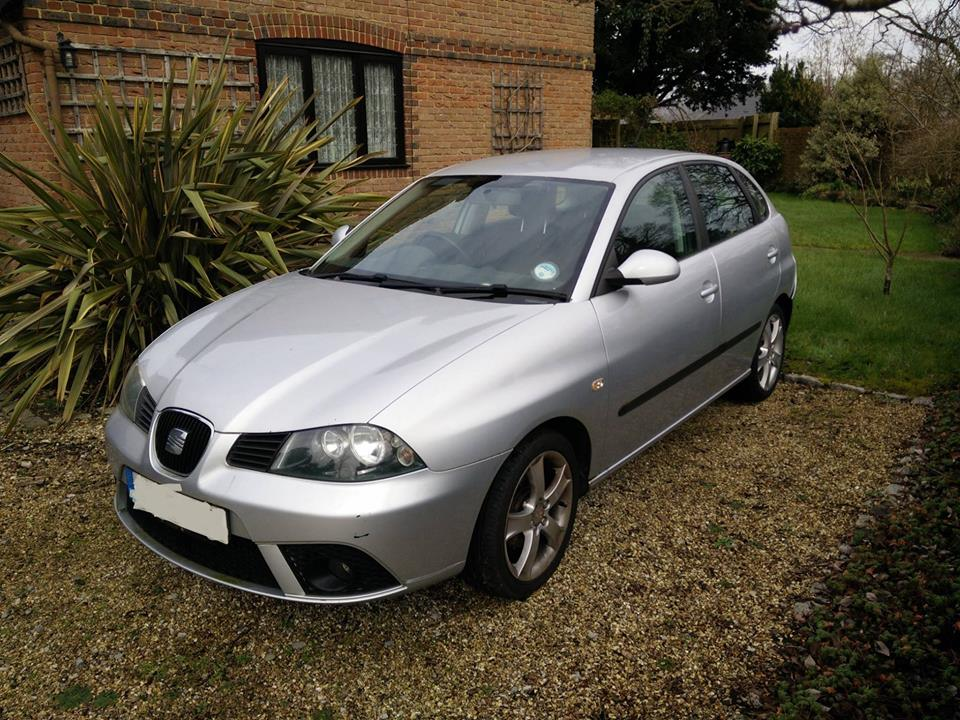 We've got a car. It's an 06 Seat Ibiza 1.4. Stereo, air-con, brakes, mot...