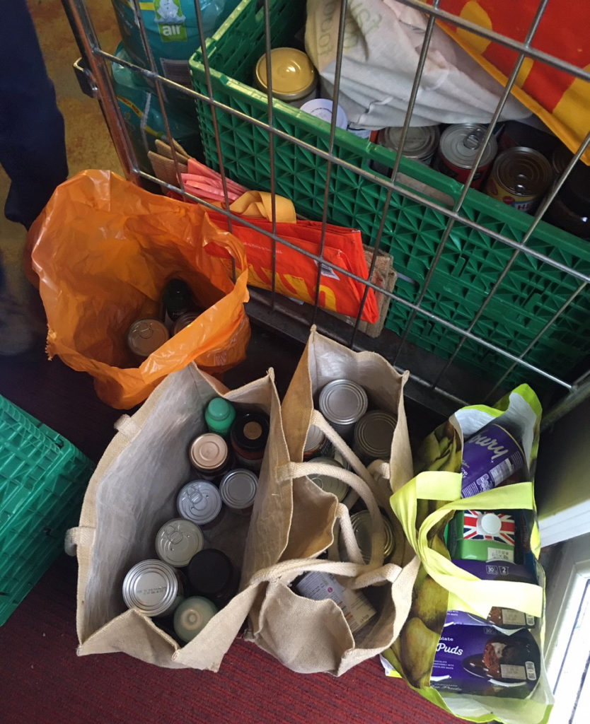 food collected for the food bank